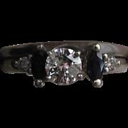 SALE Late Art Deco .76 Carat Natural Diamond & Stunning Dark Blue Sapphire 14k White Gold ...