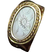 Antique Chinese Mother Of Pearl Gaming Chip Ring Size 5 1/2 Yellow Gold 14 ...