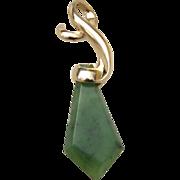 REDUCED Art Nouveau Chinese Import 14 Karat Yellow Gold Stunning Nephrite Jade Gold Pendant. .