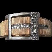 REDUCED FINAL PRICE Estate Gorgeous 14 Karat Rose & White Gold Diamond Buckle Ring. Very Good