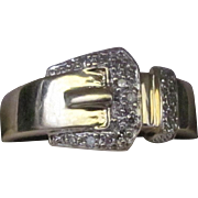 SALE 14 Karat Yellow Gold Retro Diamond Buckle Ring. Very Good Condition. 3.5 grams ...