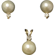 SALE Estate Mikimoto Pearl & Diamond Earrings and Pendant Set. Perfect 6mm Akoya Pearls. ...