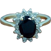 SALE Vintage Estate Stunning  1.04 Carat Black Spinel and .20 Carat Diamond Cocktail Ring ...