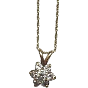 SALE Estate Art Deco 14 Karat Yellow Gold Diamond Cluster Pendant 1.15 Carat with ...
