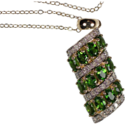 REDUCED Stunning Estate 14 Karat Yellow Gold Chrome Diopside and Diamond Pendant Necklace. ...