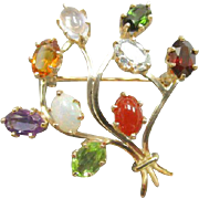 REDUCED Incredible Late Art Deco Find. 14 Karat Yellow Gold Multi-Gem Floral Spray Brooch ...