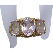 REDUCED 1970's 14 Karat Yellow Gold 4.3 Carat Triple Kunzite Ring in a ...