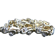 SALE Vintage Ultra Feminine 14 Karat Yellow Gold Swirled Diamond Bracelet. 7 Inches Long. 6 ..