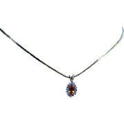 SALE Estate Vintage Natural Orange Sapphire & Diamond Pendant Nestled in 14 Karat Yellow Gold.