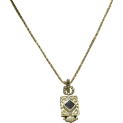 REDUCED Vintage Heirloom Estate Fine Etruscan 14 Karat Gold Garnet & Diamond Pendant Enhancer