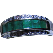 REDUCED FINAL PRICE European Vintage 14 Karat Yellow Gold 1.01 Carat Diamond & Emerald Band ..