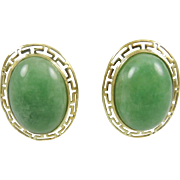 SALE Vintage Very Large  Solid 14K Gold Gorgeous Green Jade Greek Key Earrings