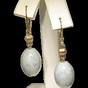 SALE Gorgeous Estate 14 Karat Yellow Gold Pale Green Jadeite Dangle Drop Earrings. 8.6 ...