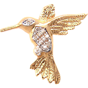 SALE Vintage 14 Karat Yellow Gold Diamond Hummingbird Pin Brooch.