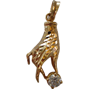 SALE Unusual Estate 14 Karat Yellow Gold Hand Pendant with Faceted Cubic Zirconia.