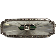 REDUCED Incredible Art Deco 14 Karat White Gold Diamond and Enamel Camphor Brooch. 3.3 ...
