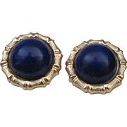 SALE Vintage Lapis Lazuli Earrings Solid 14 Karat Yellow Gold, Circa 1970