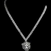 Antique Art Nouveau Heavy 14 Karat Gold Natural Ruby Genuine Diamond Lions Head Pendant with .