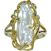 REDUCED FINAL PRICE Estate Vintage 14K Gold Mabe Pearl & Diamond Cluster Cocktail Ring 6.7