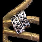 SALE UK Estate Sale.  Superb Diamond & Black Spinel Diamond Huggie Earrings. 14 Karat White ..