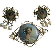 REDUCED FINAL PRICE Stunning Victorian Estate Set. 14 Karat Painted Portrait Brooch/Pendant ..