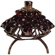 SALE Dramatic Antique Victorian Garnet 14 Karat Gold Dome Ring. 3 Carats. Size 6.