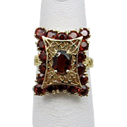 REDUCED Gorgeous, retro, solid 14 Karat Yellow Gold Filigree and Garnet Estate Ring. 3.5 ...
