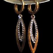 SALE Modernist European 585 (14 Karat) Two Tone Gold Earrings. Extremely Lovely
