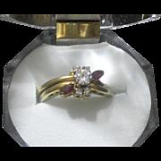 Gorgeous 1950's NYC Designers  Nudelman, Bratt & Kuschner 18 Karat Gold Ruby & Diamond Wedding
