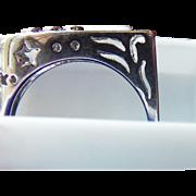 REDUCED 1980's 18 Karat White Gold Custom Made Musicians Ring. Diamonds and 18 Karat ...