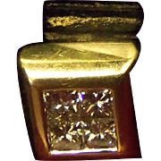 Lovely Estate European 18 Karat Yellow Gold Charm or Slider pendant with .40 carats of ...
