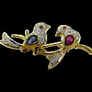 SALE Estate Art Deco European 18 Karat Yellow Gold Lovebirds Brooch with Sapphire's, Rubies ..