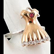 SALE European Unique Art Deco Rare 18 Karat Ladies Dress Ring with Diamonds and a ...