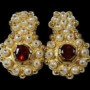 SALE Incredible Designer Estate Italian 18 Karat Yellow Gold Seed Pearl and Garnet Earrings. .