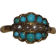 Rare Georgian 22 Karat Gold Ring with Persian Turquoise and Seed Pearls. Size 7.