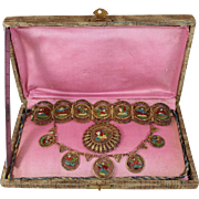 SALE Rare Cairo Made Egyptian Revival Jewelry Set. 800 Silver Gilt & Enameled Brooch, Bracelet
