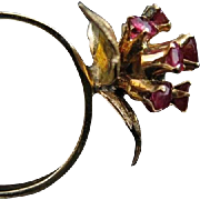 SALE Elegant Antique Victorian 9 Karat Rose Carved Ruby Cluster Ring. 1 carat. Size 4.25.