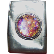 REDUCED Vintage Pachuca Mexico Harlequin Imitation Glass Opal Pill Box