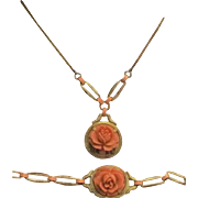 REDUCED Rare Early Victorian Gilt Sterling Silver Carved Coral Necklace and Bracelet Set. ...