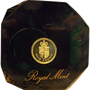 SALE Large Royal Mint UK 1 Pound Paperweight in Acrylic