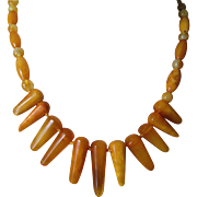 SALE Stunning Vintage European Butterscotch Amber Bib Necklace 16 1/2 inches. Perfect Conditio