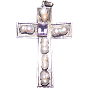 SALE Large Art Nouveau .925 Silver Hand Made Cross. Amethyst & River Pearls