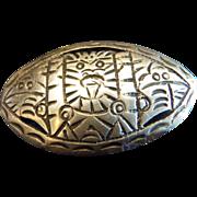 Arte en Plata Jacopo Early Work. 900 Silver Engraved Large Brooch. Beautiful