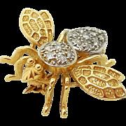 SALE Art Deco 14 Karat .33 Carat  Diamond Bee Pin Brooch 3 Dimensional Signed B ...