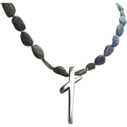 REDUCED Stunning Modernist Blue Lace Agate Sterling Silver Cross Necklace. Gorgeous!