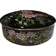SALE Stunning Black Imperial Kutani Covered Dish. Handpainted with incredible Floral Details.