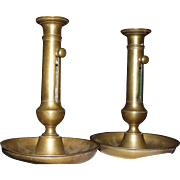 "REDUCED Estate UK Pair of Great Late 18th Century English Brass ""Hogscraper""  Candle"