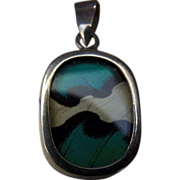 Pretty Vintage Sterling Silver Brilliant Turquoise and Black Butterfly Wings Pendant Signed
