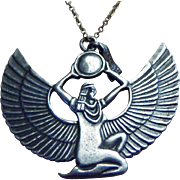 Vintage  Art Deco Egyptian Goddess Isis Sterling Silver Necklace