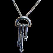 SALE 1980's Modernist Style 14 Karat White Gold Diamond Pendant and Chain